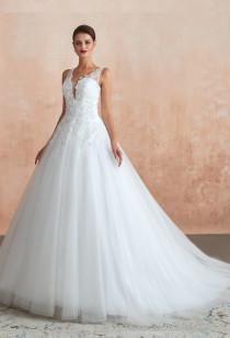 Robe de mariée décolleté vertigineux avec strass Réf: SQ364