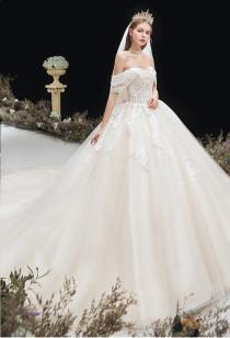 Robe de mariée col bardot Réf RM2133 - sur demande