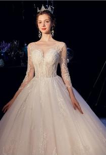 Robe de mariée manches bustier transparent Réf M2121 - sur demande