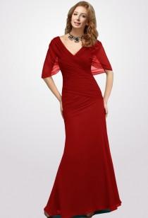 Camelia - robe de cérémonie rouge longue drapée à manche volant réf 9650