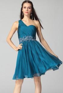 elisabeth - Robe de soirée courte émeraude ornée de broderies réf 9625