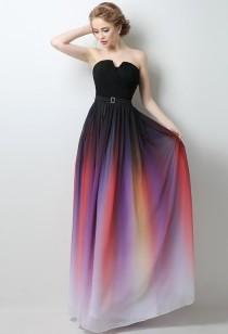 Robe de bal longueur noir + couleur dégradé - réf. 4032