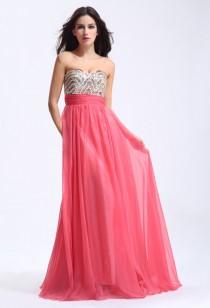 Robe de cérémonie bustier perle rose corail  - Réf AX618
