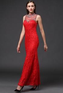 Robe de soiree rouge moulante dos transparent - Réf AX160319