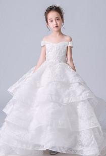 Robe de cérémonie blanche enfant col bateau Réf EF6021 Sur demande